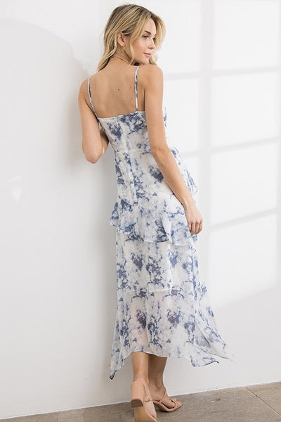 Tie Dye Ruffle Trim Maxi Dress