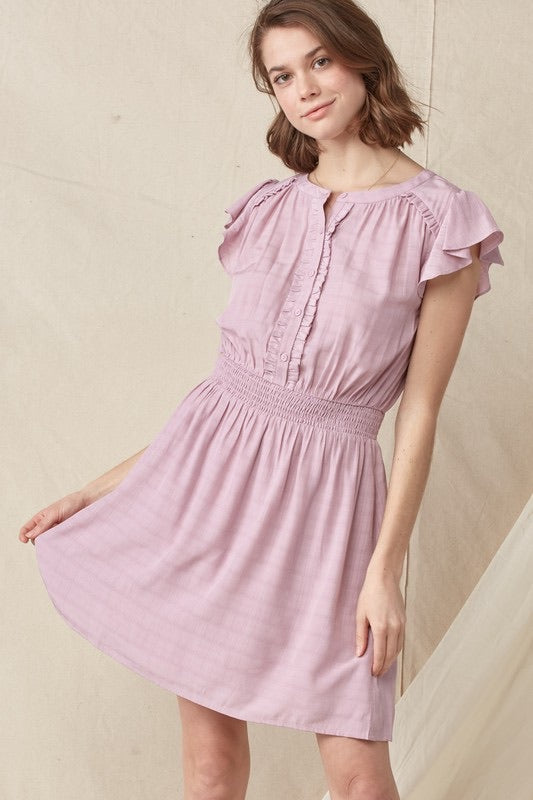 Flutter Sleeve Smocked Dress