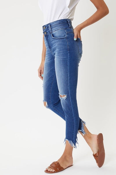 High Rise Distressed Hem Denim