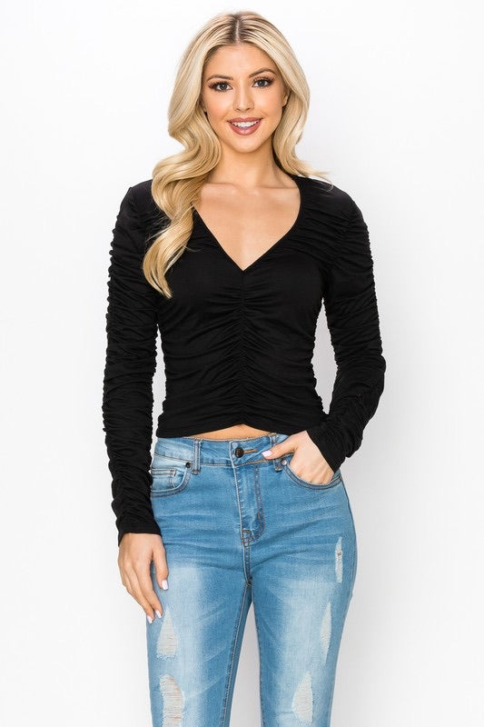 V-Neck Ruched Sleeve Top
