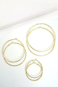 Etched Gold Hoops