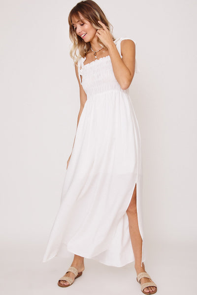 Shoulder Tie Smocked Maxi Dress