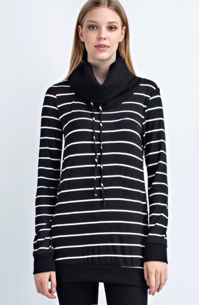 Cowl Neck Striped Top