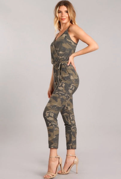 Camo Surplice Jumpsuit