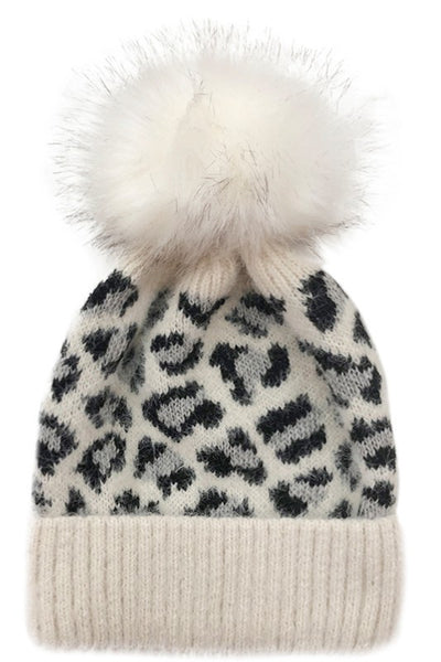 Leopard Print Knitted Pom Pom Hat *FINAL SALE*