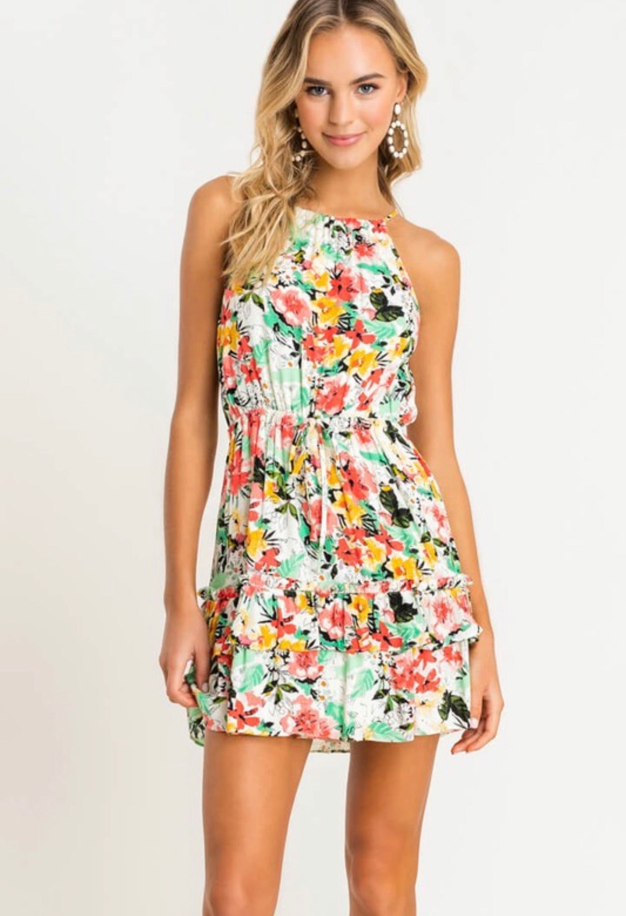 Halter Floral Tiered Dress