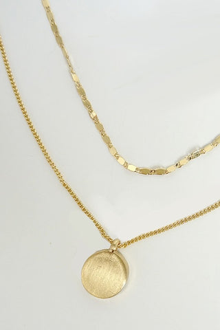 Matte Coin Layered Necklace