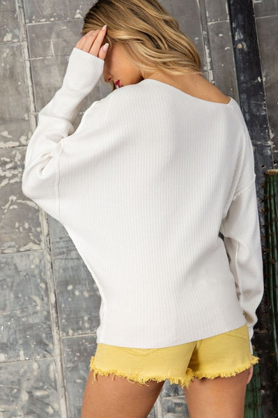 Ribbed Asymmetrical Neckline Sweater