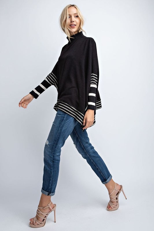 Striped Detail Poncho