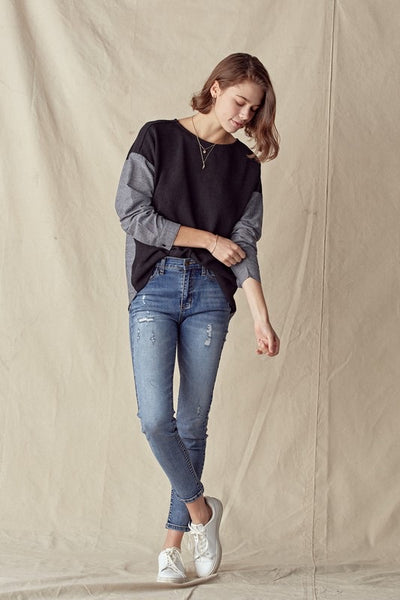 Chambray Contrast Top *FINAL SALE*