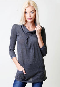 3/4 Sleeve Cowl Neck Top *FINAL SALE*