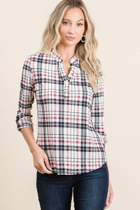 Button Detail Plaid Top