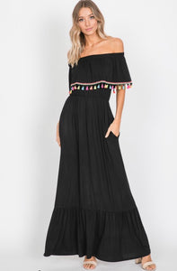 Fringe Trim Maxi Dress