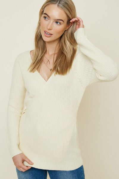 Belted Two-Way Wrap Sweater