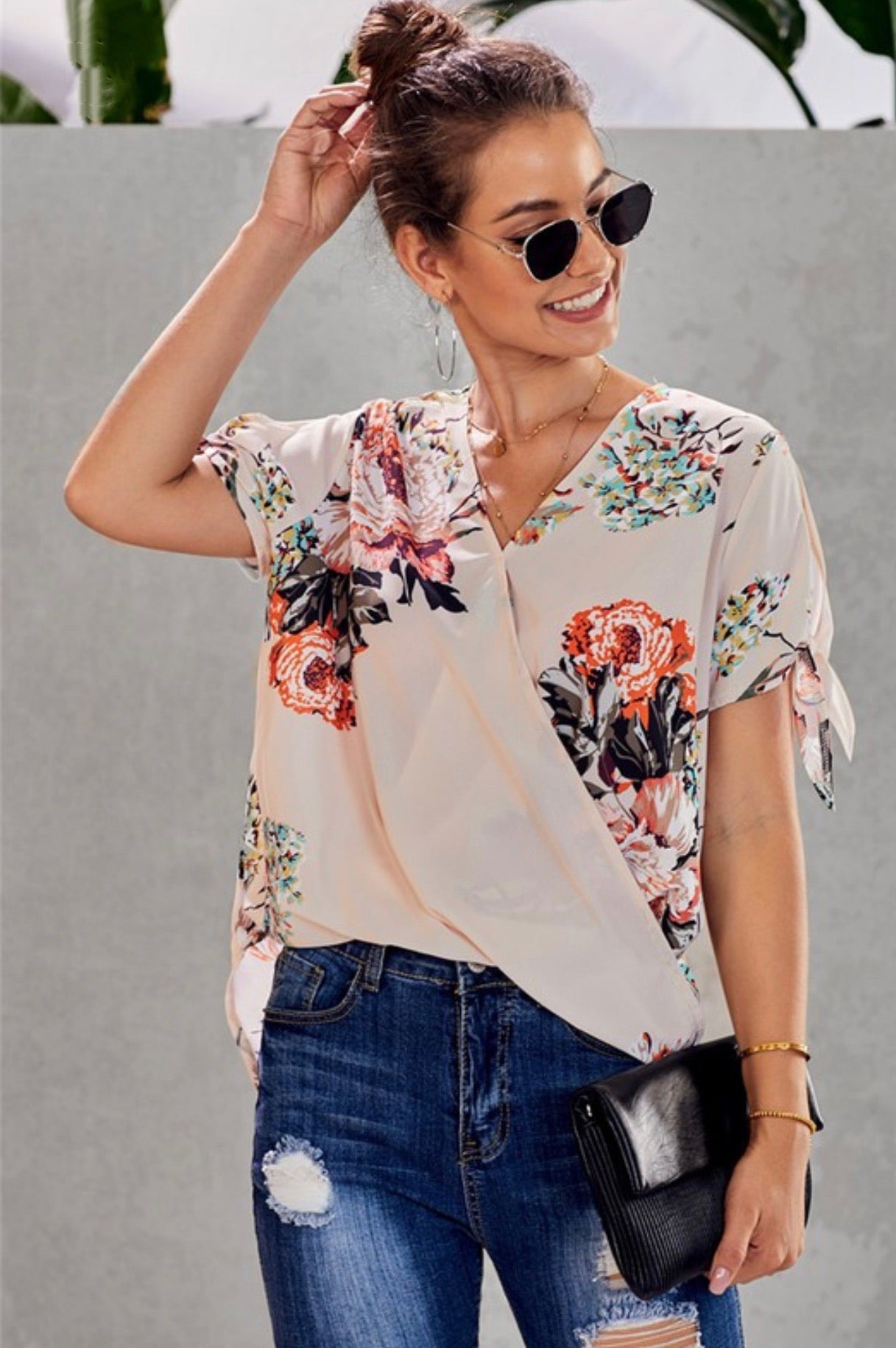 Floral Surplice Blouse