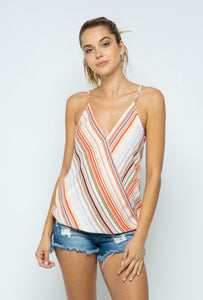 Striped Surplice Tank