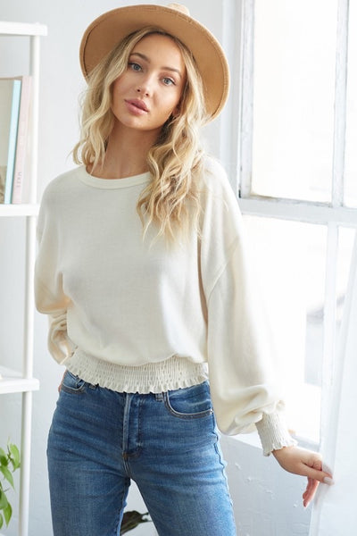 Smocked Knit Top