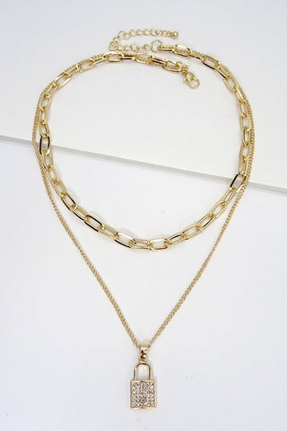 Rhinestone Lock Layered Necklace