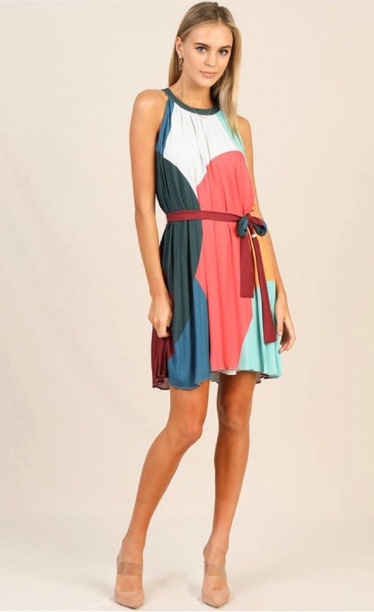 Pleated Halter Color Block Dress