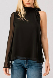 Sheer One Sleeve Chiffon Blouse