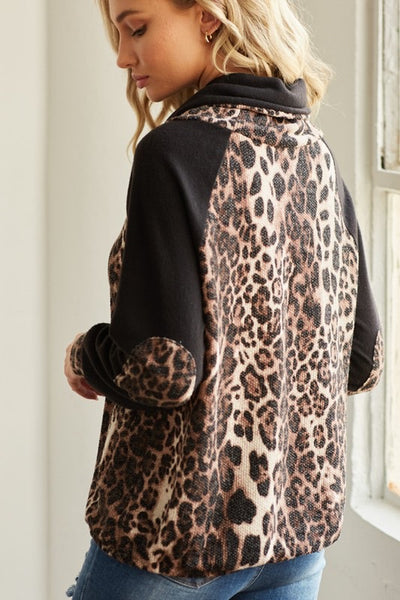 Animal Print Cowl Neck