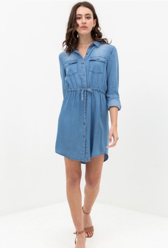 Drawstring Denim Dress
