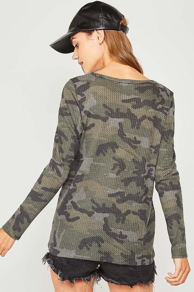 Camo Ruffle Pocket Top