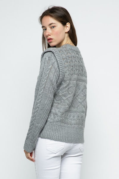 Layered Cable Knit Sweater