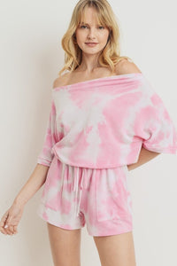 Tie Dye Off Shoulder Romper
