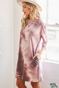 3/4 Sleeve Tie Dye Dress