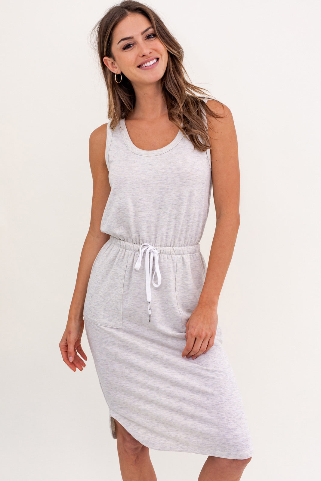 Sleeveless Elastic Waist Dress