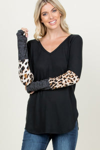 Partial Animal Print Sleeve