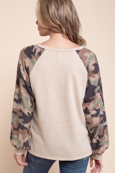 Camo Sleeve Sweater