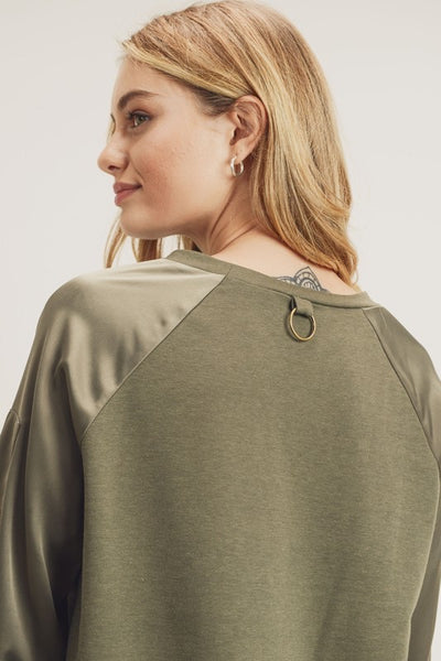 Satin Sleeve Bomber Top