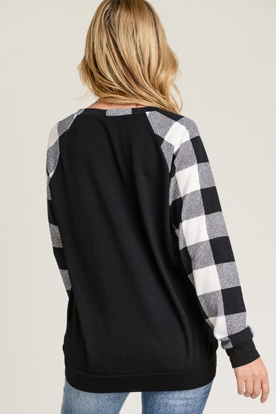 Plaid Sleeve Tunic