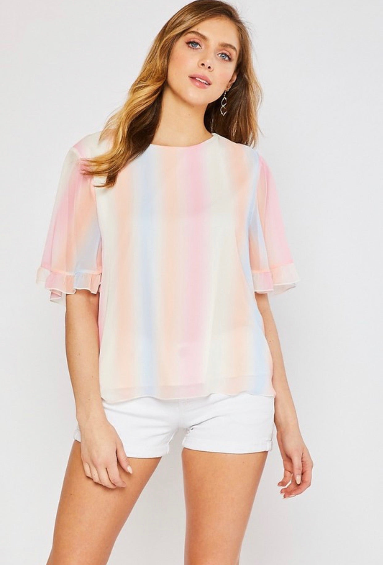 Striped Tie Dye Blouse