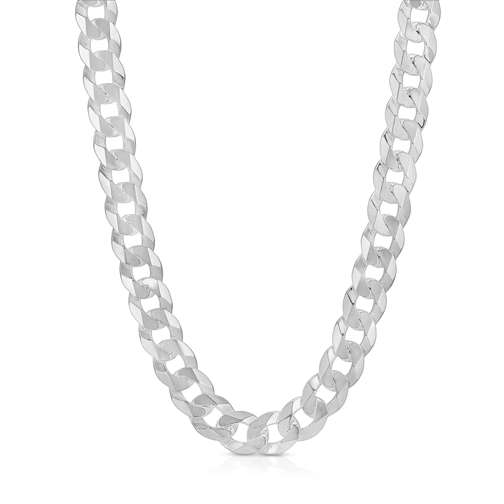 12mm Flat Curb sterling silver chain