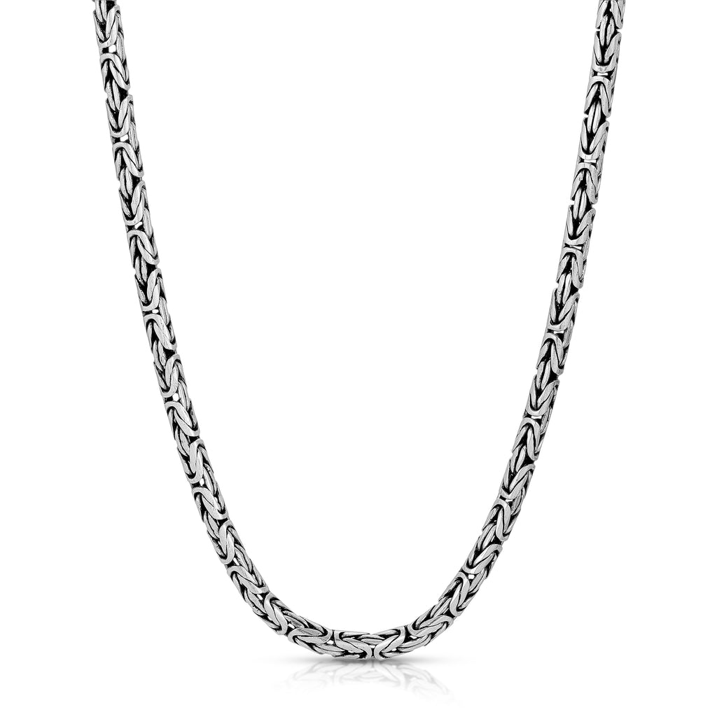3.5mm Oxidized Byzantine Sterling Silver Chain