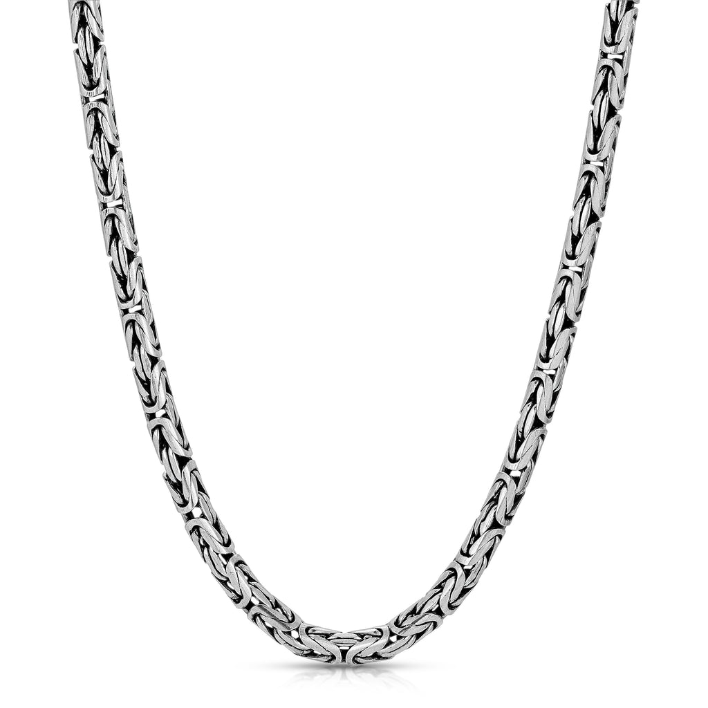 4mm Oxidized Byzantine Sterling Silver Chain