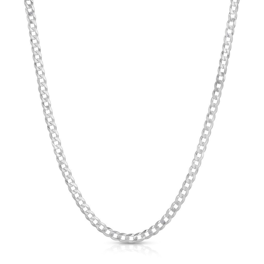 4mm flat curb sterling silver chain