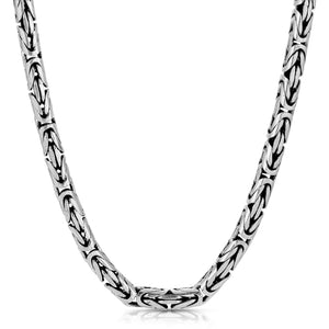 5mm Oxidized Byzantine Sterling Silver Chain