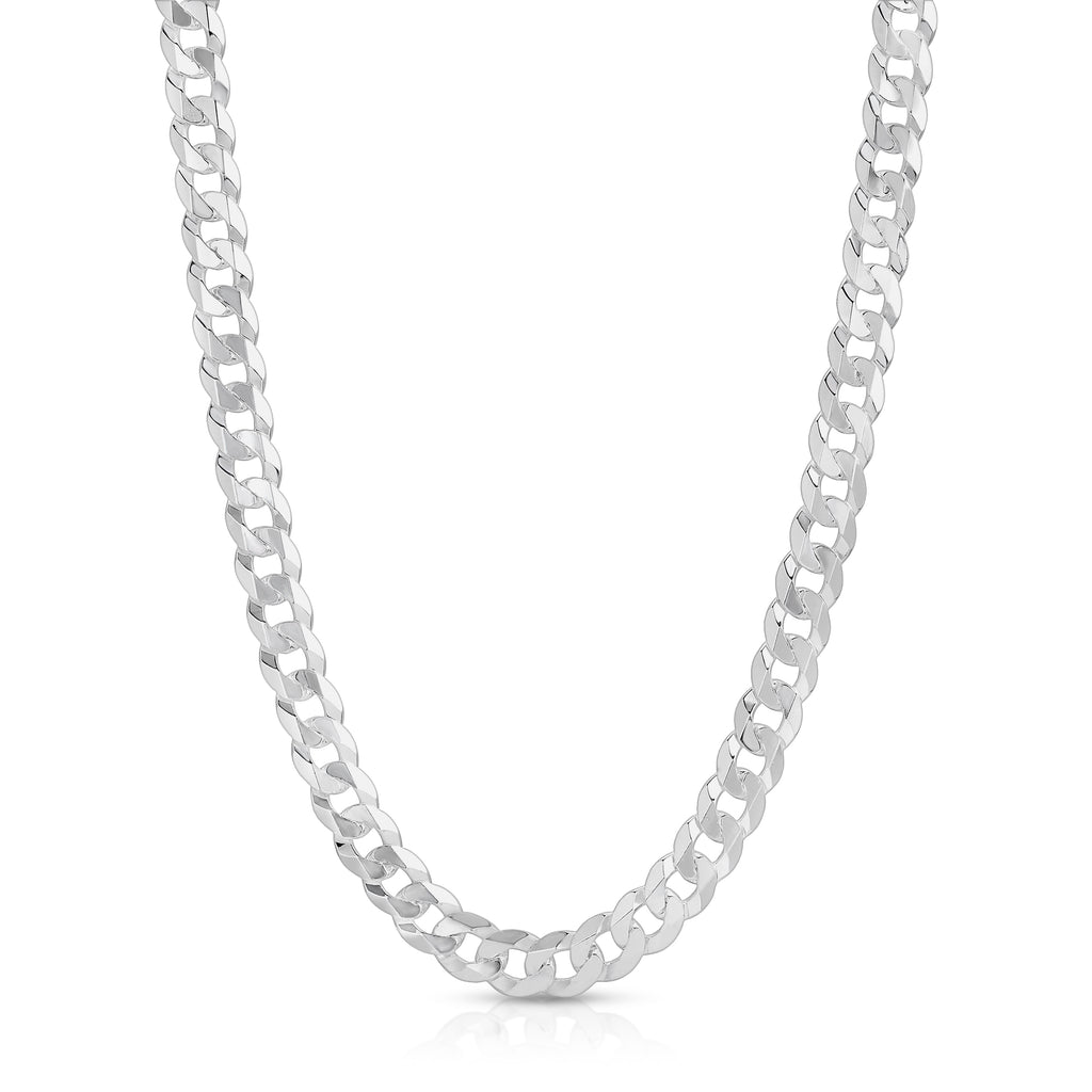 9mm Flat curb sterling silver chain
