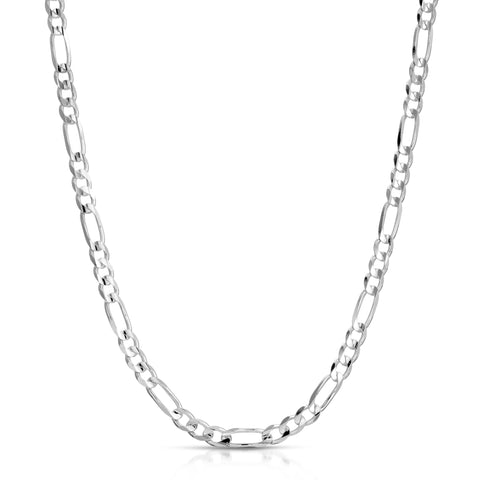 diamond cut figaro sterling silver chain