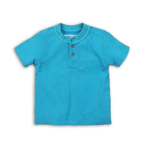 Boys Blue Grandad Collar T Shirt