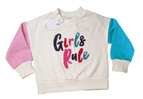 'Girls Rule' Motif Sweatshirt
