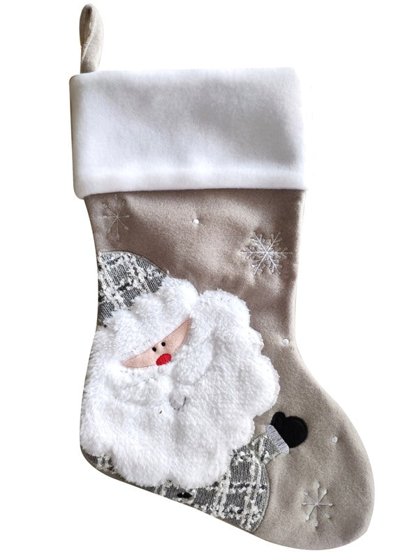 Deluxe Silver Plush Santa Stocking