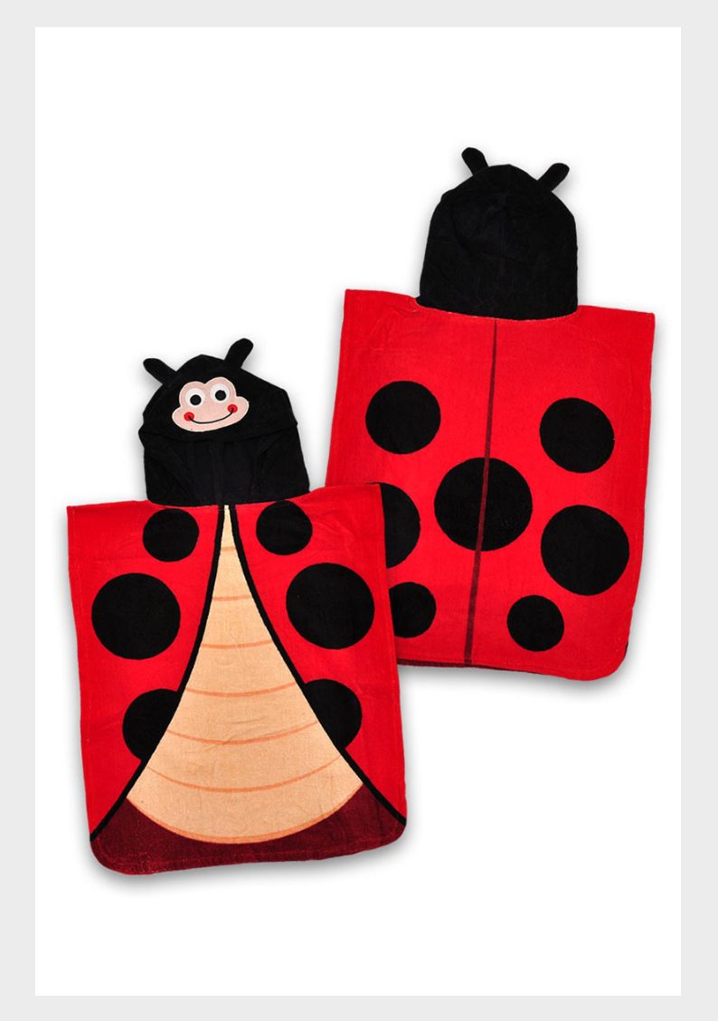 Toddler Girls Hooded Ladybird Towel