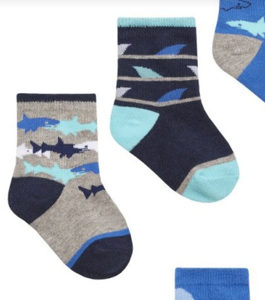 Infant Boys 3 Pack Shark Socks