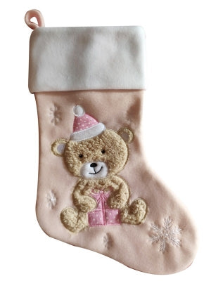 Deluxe Silver Plush Pink and Blue Bear Stockings
