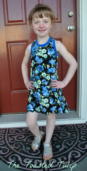 Girls Swing Dress Blue Floral